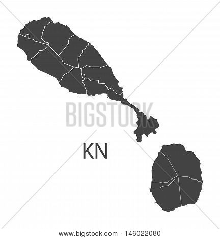 St. Kitts and Nevis grey map with regions isolated vector high res