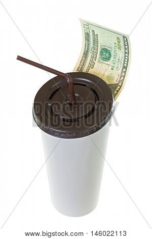 20 USD dollar banknote money leaving white paper cup for coffee with brown lid and straw isolated on white background