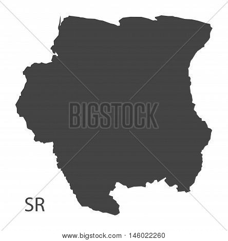 Suriname grey map isolated vector high res