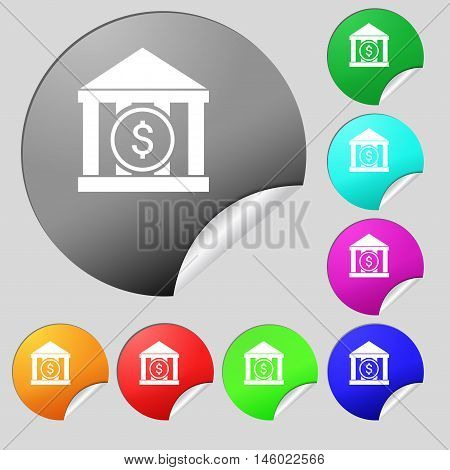 Bank Vector Icon Sign. Set Of Eight Multi Colored Round Buttons, Stickers. Vector