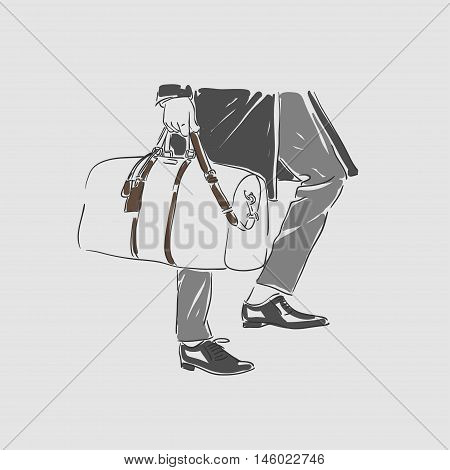 Attractive Man In Fashionable Clothes With Bag Hand Draw Vector Illustration