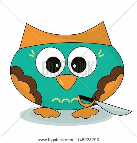 Owl-sea pirate. Owlet with a saber in cartoon style. Isolated character on a white background.