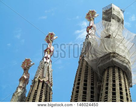 05.07.2016 Barcelona Spain: Sagrada Familia church under construction with building cranes.