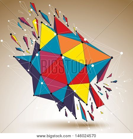 3D Vector Low Poly Digital Object With Connected Lines And Dots, Colorful Geometric Wireframe Shape