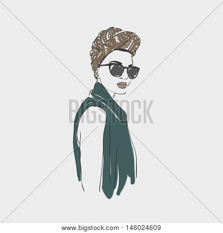 Beautiful Young Women In A Fashion Clothes, Turban And Glasses. Vector Hand Drawn Illustration.