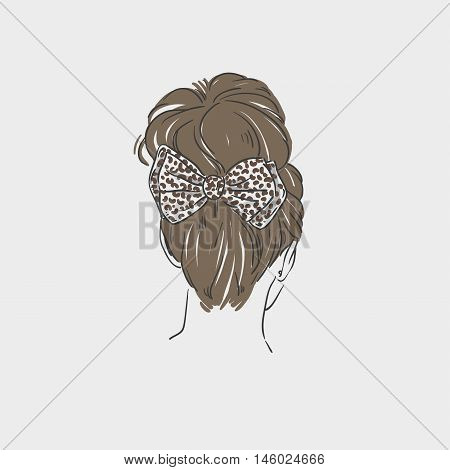 Women Hairstyle With Bow Barrette. Vector Hand Drawn Illustration
