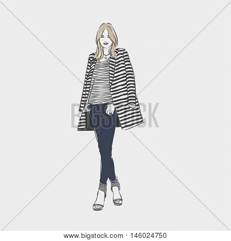 Beautiful Woman In A Striped Coat And Jeans. Vector  Hand Drawn Illustration.