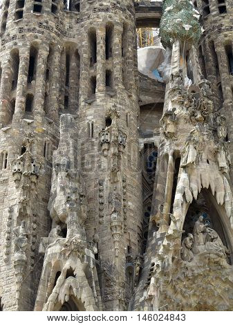05.07.2016 Barcelona Spain: Sagrada Familia church architecture decoration detail.