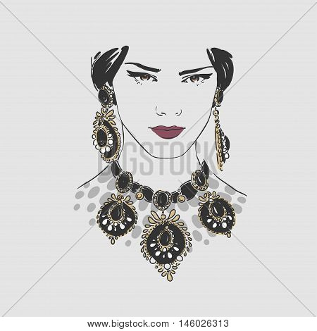 Beautiful Young Women With Big Gold Earrings And  Necklace. Vector Hand Drawn Illustration.