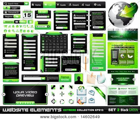 Web design elements extreme collection BlackGreen - 1 website, 1 Blog, form styles, frames, bars, icons, banners, login forms, buttons and so on!
