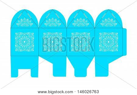 Birdcage favor box. Wedding gift box for sweets. Table decoration on the day of birth a baby shower or other party. Layout for laser cutting of paper in Chinese Japanese Moroccan oriental style.