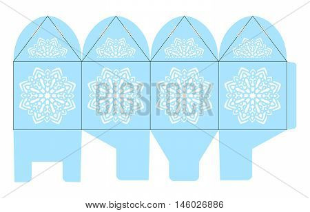 Birdcage favor box. Christmas gift box with snowflake for sweets. Elegant table decoration for a wedding birthday baby shower winter. Layout for laser cutting of paper in Moroccan oriental style.