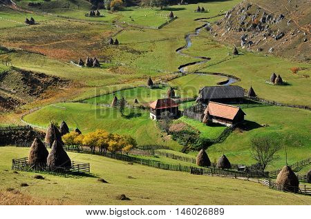 Autumn Rural Landscape With A Small Village
