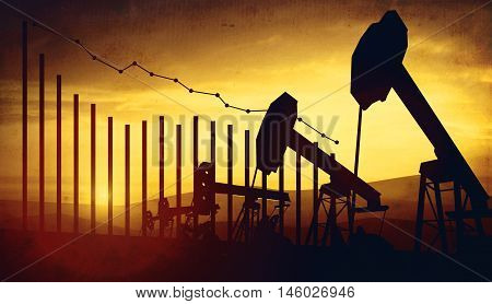 3d illustration of oil pump jacks on sunset sky background with financial analytics charts. Concept of falling oil prices