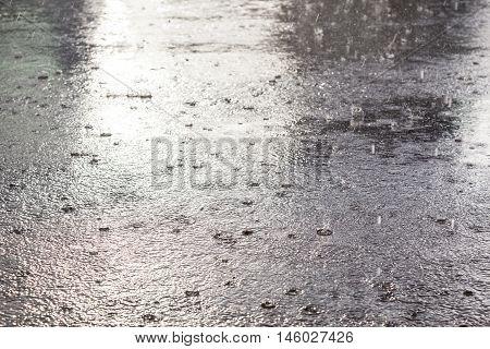 Rain flood in October. Nostalgic mood of Autumn.