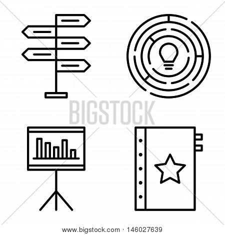 Set Of Project Management Icons On Decision Making, Creativity And Quality Management. Project Manag