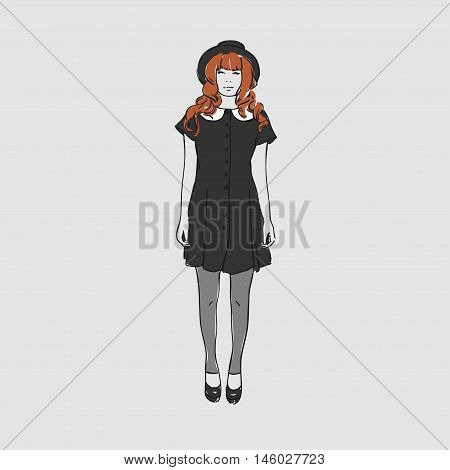 Beautiful Young Women In A Fashion Short Black Dress And Hat. Vector Illustration