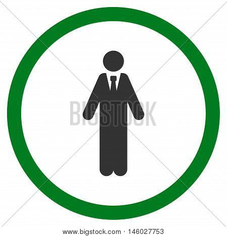 Clerk vector bicolor rounded icon. Image style is a flat icon symbol inside a circle, green and gray colors, white background.