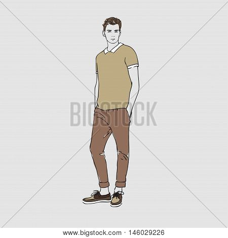 Attractive Young Man In Fashion T-shirt And Pants. Vector Hand Draw Illustration. Isolated.