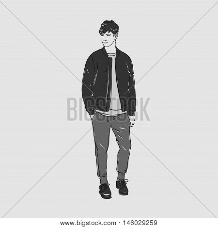Attractive Young Man In Fashion T-shirt, Jacket And Pants. Vector Hand Draw Illustration. Isolated.