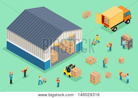 Isometric delivery and logistics. Delivery truck, cargo box delivery, business logistic transportation, vector illustration
