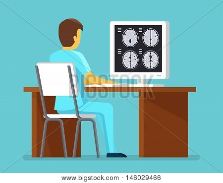 Doctor researches results of MRI scan. Health and care vector concept. Brain scan, research brain mri professional illustration
