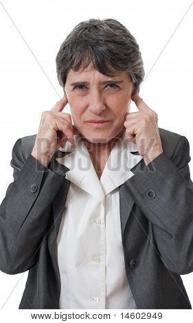 businesswoman closing ears