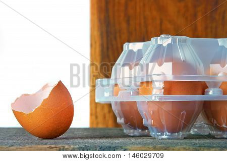 The shell of the egg and the plastic tray
