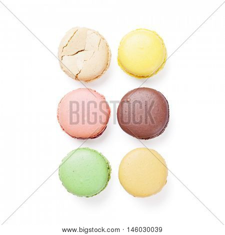 Colorful macaroons. Sweet macarons. Isolated on white background