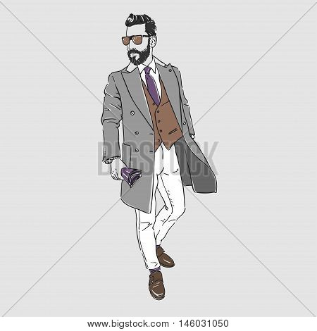 Attractive Young Man In Fashion Coat And Sunglasses. Vector Hand Draw Illustration. Isolated.