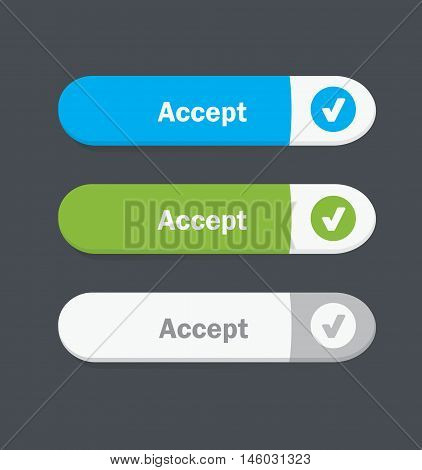 Set of vector web interface oval buttons. Accept.