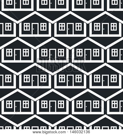 Real estate theme symmetric vector seamless pattern abstract houses