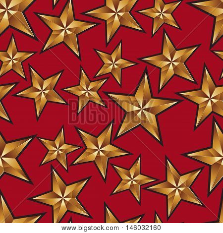 Celebration idea vector background pentagonal golden stars.