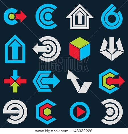 Vector Blue Flat Simple Navigation Pictograms Collection. Set Of Corporate Abstract Design Elements.