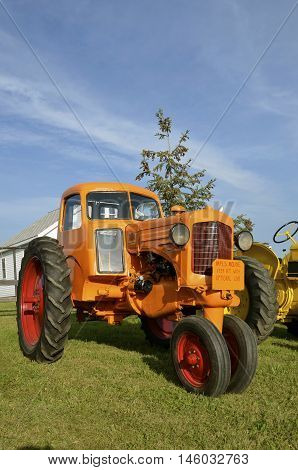 ROLLAG, MINNESOTA, Sept 1, 2016: A Minneapolis Moline cabbed RT tractor is parked at the West Central Steam Threshers Reunion(WCSTR) where 1000s attend each Labor Day weekend in Rollag, MN each year.