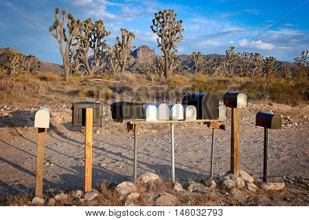 Mailboxes in a small town in Nevada