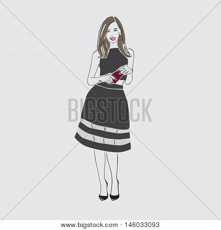Beautiful Young Women Wih Long Dark Hair In A Black Dress And  Shoes. Isolated Vector Illustration.