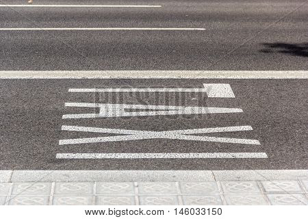 Caption Taxi on the asphalt for allocate part of road for taxi