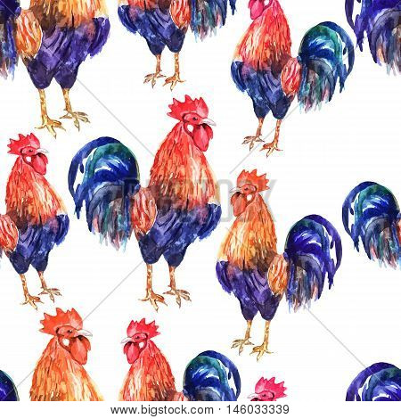Vector seamless pattern with fire cock on white background. Chinese calendar Zodiac for 2017 New Year of rooster. Isolated bird drawn in watercolor.