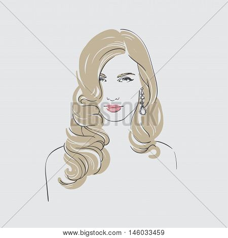 Beautiful Blonde Woman With Long Retro Hairstyle And Dangling Earrings With Stone , Hand Drawn Line