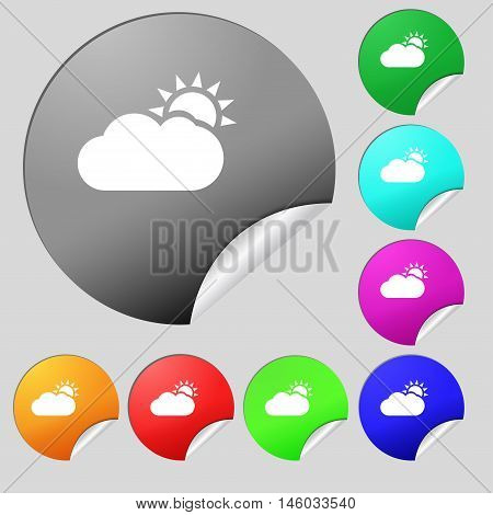 Partly Cloudy Icon Sign. Set Of Eight Multi Colored Round Buttons, Stickers. Vector