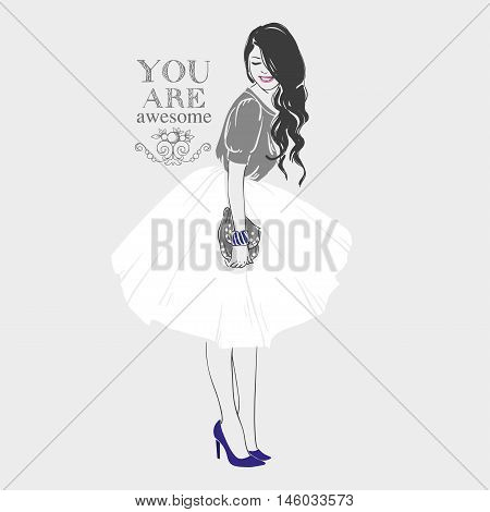 Beautiful Young Women In Grey Blouse, Blue High Heel Shoes And White Midi Skirt With Handbag. Vector