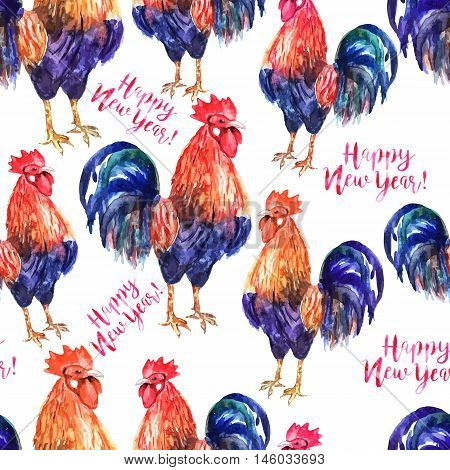 Vector seamless pattern with fire cock on white background and text Happy New Year!. Chinese calendar Zodiac for 2017 New Year of rooster. Isolated bird and text drawn in watercolor.
