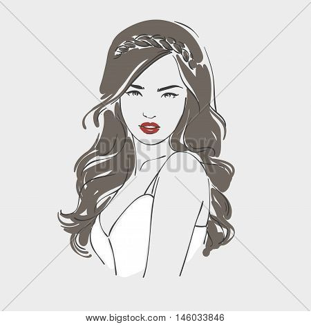 Beautiful Woman With Long Retro Hairstyle Looking Over Her Shoulder, Hand Drawn Line Illustration.
