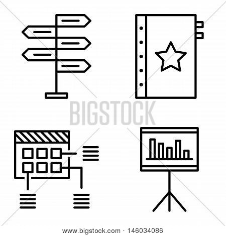 Set Of Project Management Icons On Decision Making, Planning And Quality Management. Project Managem