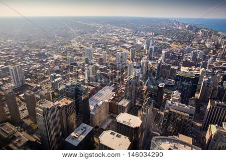 The famous Chicago skyline late in the afternoon from Willis Tower looking towards the Gold Coast area