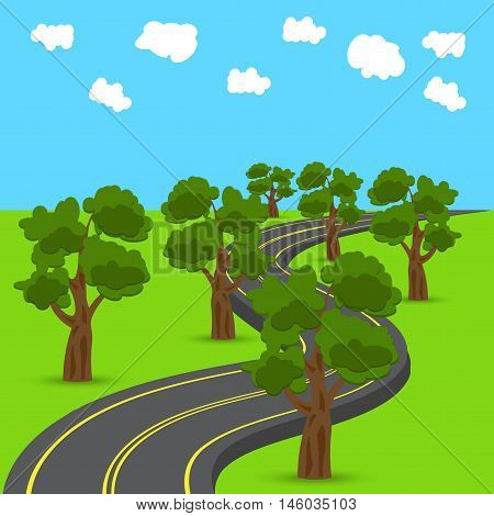 Highway receding into the distance in the animated style. Green oak trees on the edges of the road. Vector illustration