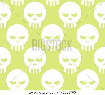 Seamless Halloween Human Skeleton Skull Pattern