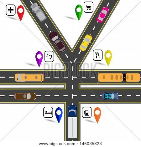 Road junction, a sign resembling the yen, the yuan. Way to the navigator. Humorous image. Vector illustration