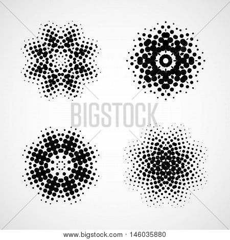Halftone snowflake. Abstract black and white design element. Set
